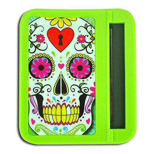 Glow-in-The-Dark Roll-Your-Own Cigarette Case, Hard Plastic, Printed Design - Sugar Skull