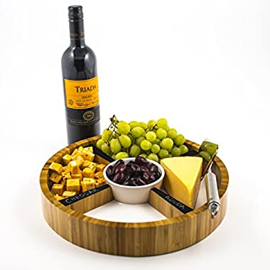 Eco-Friendly Bamboo Cheese Tray with Removable Ceramic Dish & Chalkboard Dividers - Perfect Hostess Gift, Great for Cheese, Condiments, Appetizers and Hors D'oeuvres. Round, 13