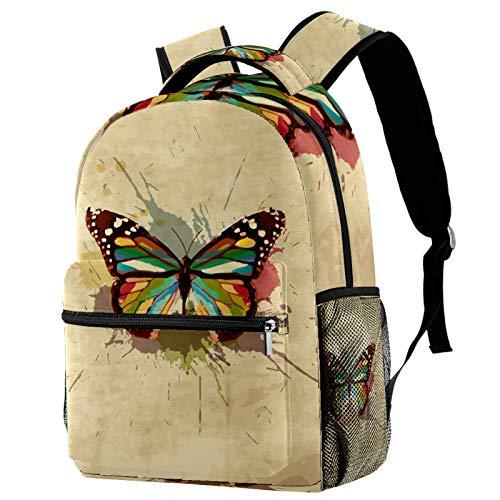 Yuzheng Mariposa Retro Vintage Bolso Durable del Viaje de la Mochila de la Capacidad de la Moda Unisex de la Mochila para Acampar, Compras, el Subir 29.4x20x40cm