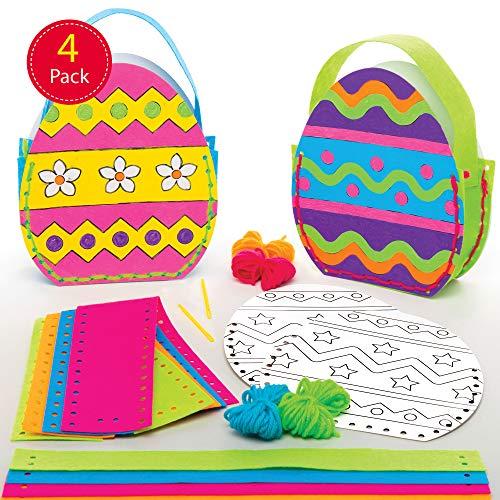 Baker Ross Paasei handtassen naaiset voor kinderen om in te kleuren (4 stuks) creatieve sets voor knutselen en decoreren in de lente