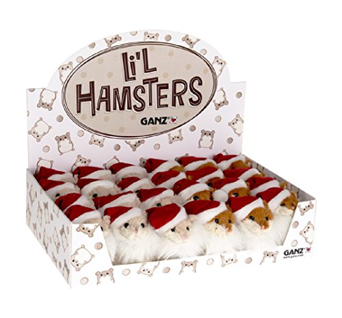 Ganz Li'l Hamsters with Santa Beard and Hat (24 Piece per Pack)