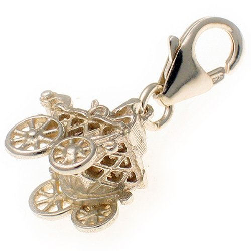 Welded Bliss Sterling 925 Silver Twin Bunny Rabbit Babies en Cochecito, Clip Charm WBC1415