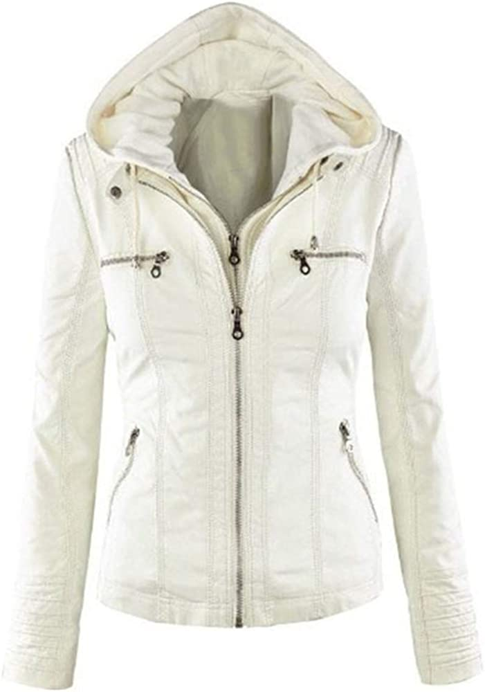 Seamido Women's Faux Leather Jacket Removable Hoooded Leather Jackets