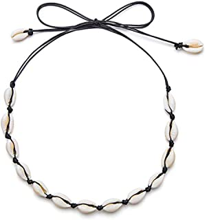 MOGOI Natural Cowrie Shell Choker Necklace for Women Girls, Handmade Adjustable Conch Shell Necklace Jewelry - Beautiful Stylish Seashell Strand Bracelets for Summer Vacation.Black