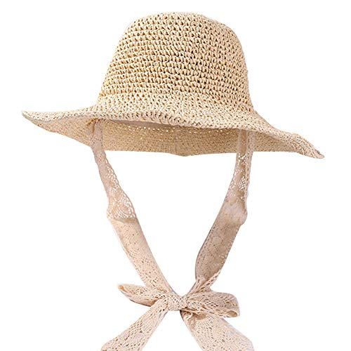 porfeet Sombrero de paja plegable de playa Sombreros de sol grandes de ala ancha de ganchillo de punto de paja, lazo de encaje de paja, sombrero de ala grande, porttil para mujeres y seoras beige