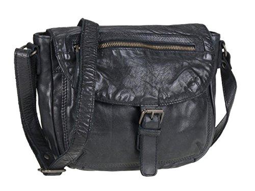 Bear Design Handtasche Damen Tasche Leder Schultertasche Cow Lavato schwarz
