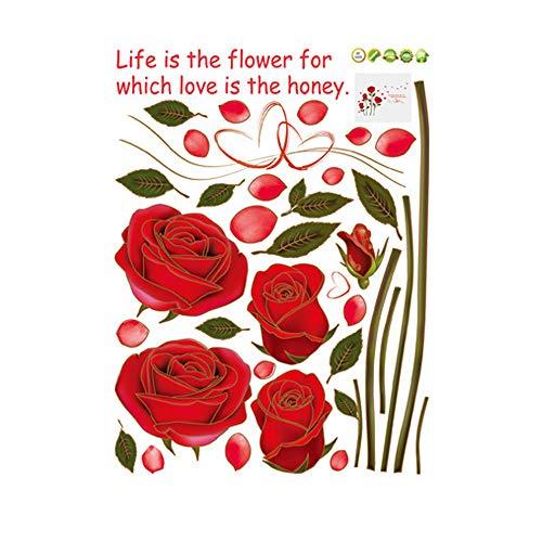 Vektenxi Abnehmbare Wandtattoo Wandgemälde für rote Rose Wohn- / Schlafzimmer (Rose)