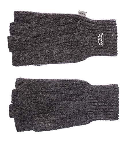 EEM Damen Halbfinger Strickhandschuhe KLARA mit Thinsulate Thermofutter aus Polyester, Strickmaterial aus 100% Wolle; anthrazit, M