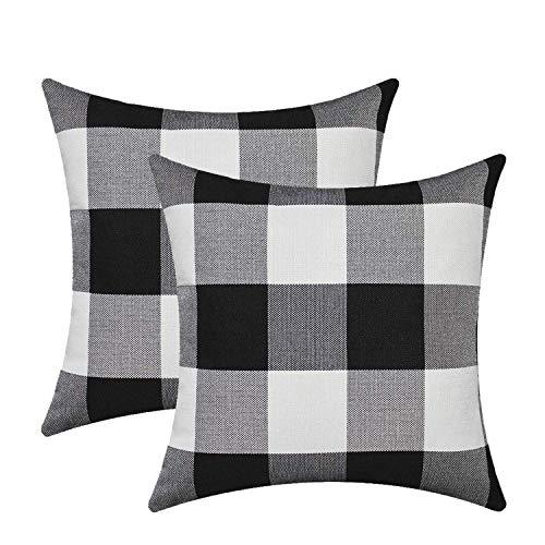 "Burlap Farmhouse Decor Buffalo Checkers Plaid Cotton Linen Decorative Throw Pillow Cover Rustic Cushion Cover Pillowcase for Sofa 18 x 18 Inch, Set of 2 (Black/White, 18""×18"")"