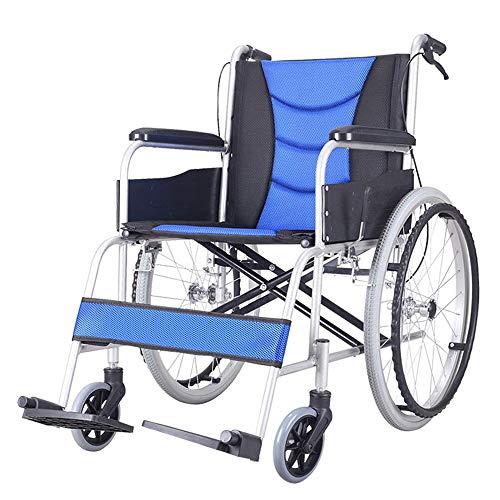 WY-CHAIR Rollstuhl faltbar - Leicht zusammenklappbare Rollstühle - Verstellbare und leicht zu lösende Fußstützen, Sicherheits-Kippstützen, wiegt nur 25 lbs