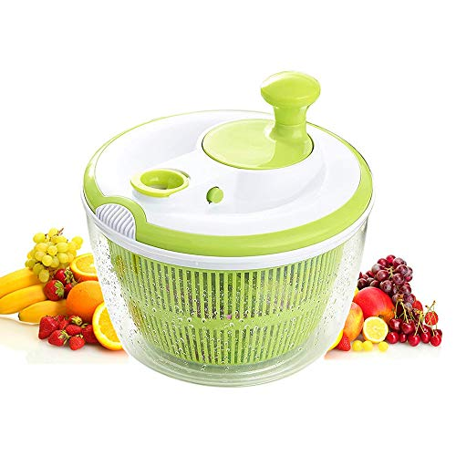 N\ A Salat-Spinner-Salat-Trockner Leicht ABS-manueller Salat-Gemüsedehydrator Hochgeschwindigkeits-Zentrifugal-Abtropfkorb Schleudern 25cm/Grün.