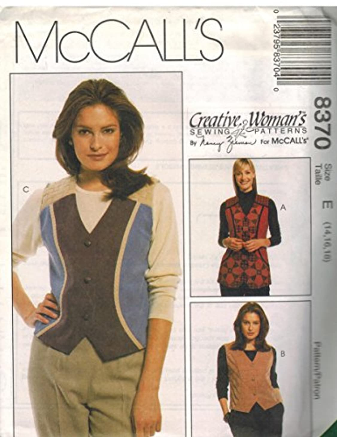 Misses Lined Front Button Vests Sewing Pattern McCall 8370 Creative Woman Nancy Zieman (16-18-20)