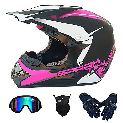 NNYY Casco Integral De Motocross para Adultos con Guantes Gafas De Protección Motocicleta Todoterreno con Certificación Dot Motos De Cross Racing MX MTB ATV Quads Casco De Moto,Rosado,S