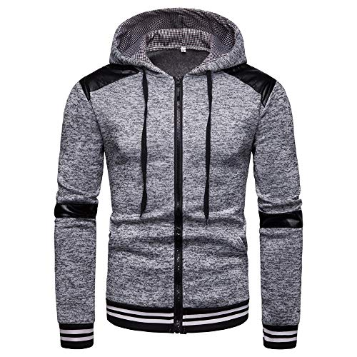 Best Buy! Men Fashion Autumn Winter Casual Hooded Cardigan Outwear,Man Zip Up Striped Long Sleeve To...