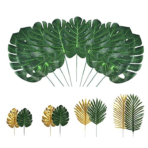 Las Hojas de la Selva de la simulación Artificial de Las Hojas de Palma Tropical Plant Artificiales se Deriva de Hawai Hojas Verdes 72PCS Jardín ayudante