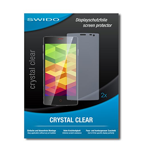 SWIDO Schutzfolie für Ulefone Be X [2 Stück] Kristall-Klar, Hoher Festigkeitgrad, Schutz vor Öl, Staub & Kratzer/Glasfolie, Bildschirmschutz, Bildschirmschutzfolie, Panzerglas-Folie