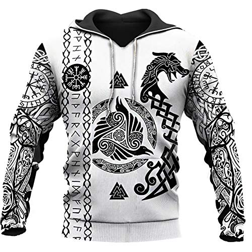 WDBAYXH Men's Viking Odin's Raven and Dragon Sweatshirt Hoodie, Norse Tattoo Runes 3D Print Full Zip Pullover Big Pockets Casual Loose White Jacket, Celtic Pagan Unique Streetwear,Pullover,5XL