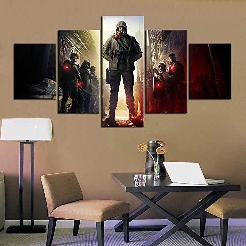 13Tdfc Quadro 5 Pezzi Stampa su Tela in TNT XXL Immagini Moderni Murale Fotografia Grafica Decor Parete 150X80Cmvideogioco Division 2 Regalo Creativo