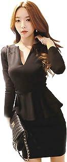 KimBerley 長袖 Vネック ペプラム ミニ ワンピース ドレスライン キャバドレス ナイトドレス キャバ嬢 ファッション 黒 セクシー パーティー