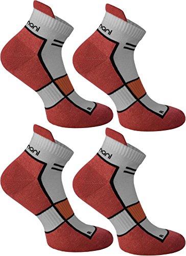 normani 4 Paar Running Sport Sneaker Funktionssocken mit Frotteesohle verstärkt Farbe Hibiscus Größe 47/50