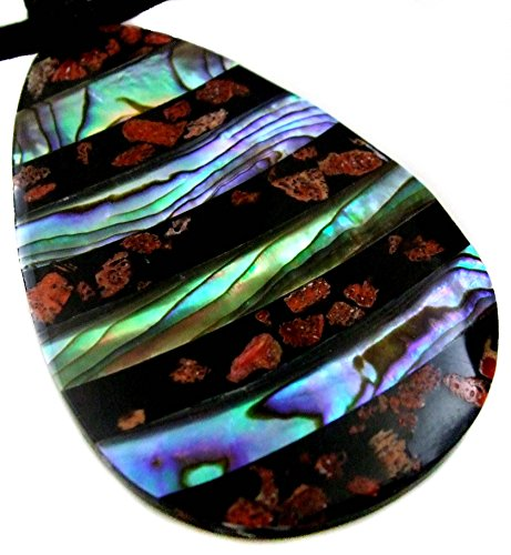 Swimmi Collar de cordón Ajustable de 16 a 27 Pulgadas con Colgante de Coral Rojo y Concha de abulón Natural de Paua AA324