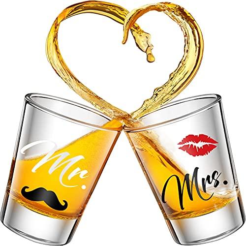 2 Piezas Vasos de Chupito de Mr y Mrs Copas de Vino de Oro de 2 Onzas para Boda Fiesta Vaso de Aniversario Compromiso Copa de Vino de Pareja para Recién Casados Parejas (Estilo Encantador)