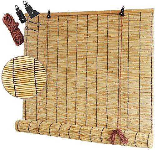 GeYao Rollo Bambus, Vorhänge – Trennvorhänge – dekorative Vorhänge, für Hof, Garten, Innen- und Außenbereich, Lichtfilter, Rollos mit Volant (Größe: 90 x 120 cm)