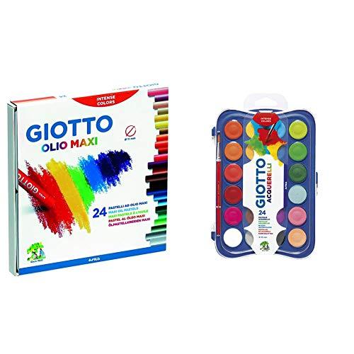 Giotto Pastelli Ad Olio In Astuccio Da 24 Colori & Acquerelli In 24 Colori, Pastigle Da 30Mm, Con Pennello