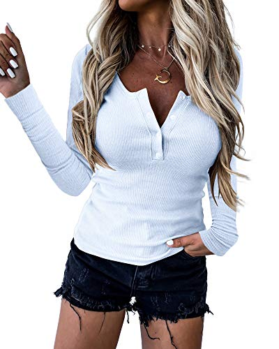 Women Henley Shirt Long Sleeve