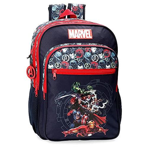 MARVEL Avengers Team Zaino per la Scuola Doppio Scomparto Adattabile a Carrello Blu, 30 x 40 x 13 cm, Poliestere, 15.6 l