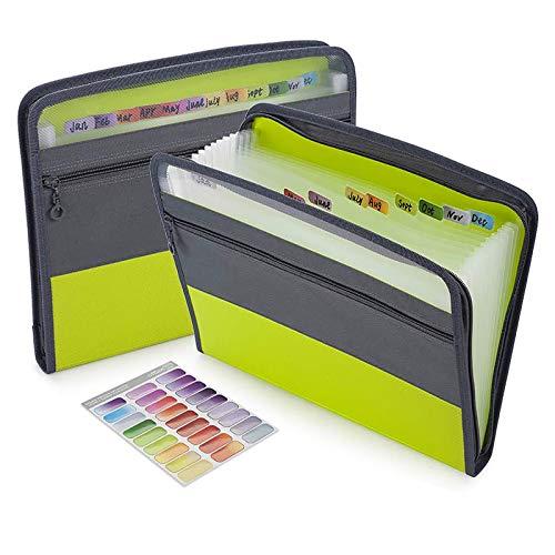 Sooez Expanding File Folder with Sticky Labels, 13 Pocket Accordion File Folder Document Organizer Expanding Zip File Folder with Zipper Closure, Letter A4 Paper Document Accordion Folder, Green
