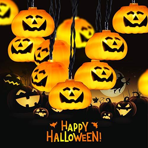 Cadena de Halloween de Calabaza 3D 3,5M 20 LEDs, Elegear 8 Modos Luces de Halloween Decoración con Pilas, Decoración de Bricolaje para Halloween/Fiestas temáticas/Carnaval/Fiesta/Celebración(M-1)