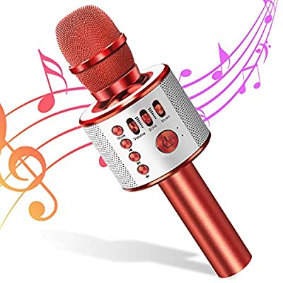 Wireless Karaoke Microphone for Kids 4 in 1 Bluetooth Karaoke Machine Handheld Speaker Home KTV Player Record Function for Kids Singing Compatible with Android & iOS (RED)