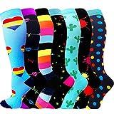 ACTINPUT 7 Pares Calcetines de compresión para Mujeres y Hombres 20-25 mmHg es el Mejor atlético, Correr,Escalar Montaña,Vuelo, Viajes, Enfermeras, Edema