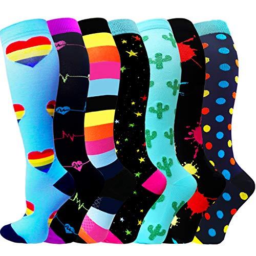 ACTINPUT 7 Pares Calcetines de compresión para Mujeres y Hombres 20-25 mmHg es el Mejor atlético, Correr,Escalar Montaña,Vuelo, Viajes, Enfermeras, Edema( Assorted 07 - Azul,L-XL)