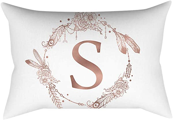 Mikilon Throw Pillow Case Cushion Cover 12x20 Inches Pillow Cover White Rose Gold Alphabet Letter Pillowcase Sofa Cushion Cover Home Decor