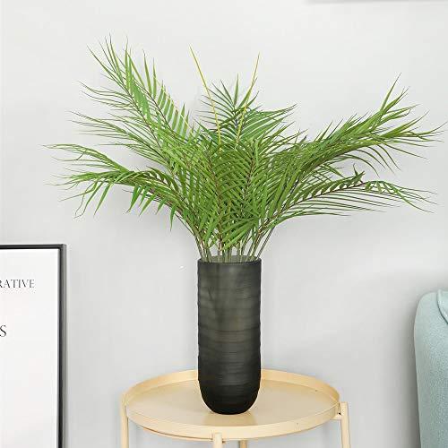 Aisamco künstliche Tropische Palmblatt Bush künstliche Pflanze in grün 1 Stück Kunststoff Areca Palm Plant 6 Blätter 35