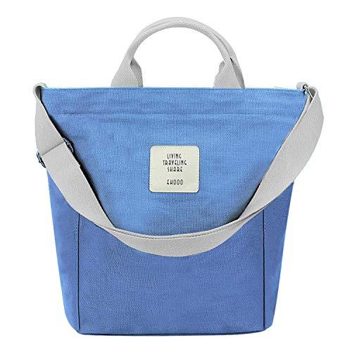 Yidarton Damen Umhängetaschen groß Tasche Casual Handtasche Canvas Chic Damen Schultertasche Henkeltasche für Schule Shopping Arbeit Einkauf (Blau)