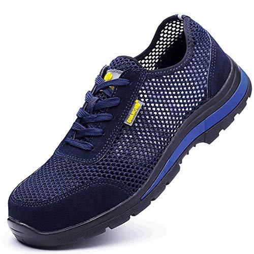 MJJ Zapatillas de Deporte Ocasionales Respirables de los Hombres de la Moda de Tenis atlético Ligero Zapatillas para Correr,Blue,9.5