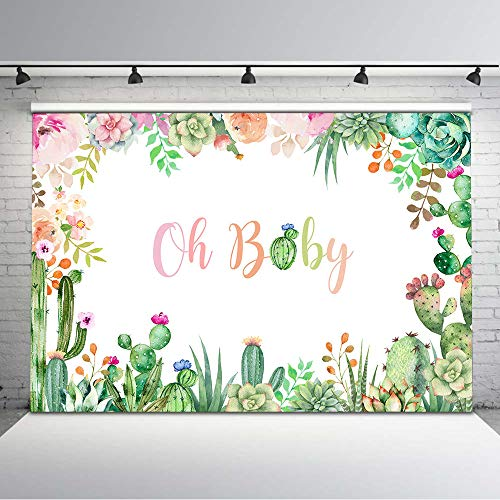 Mocsicka Cactus Baby Shower Backdrop Mexican Cactus Party Photography Background 7x5ft Mexican Fiesta Watercolor Cactus Floral Baby Shower Photo Banner Backdrops Photocall Props