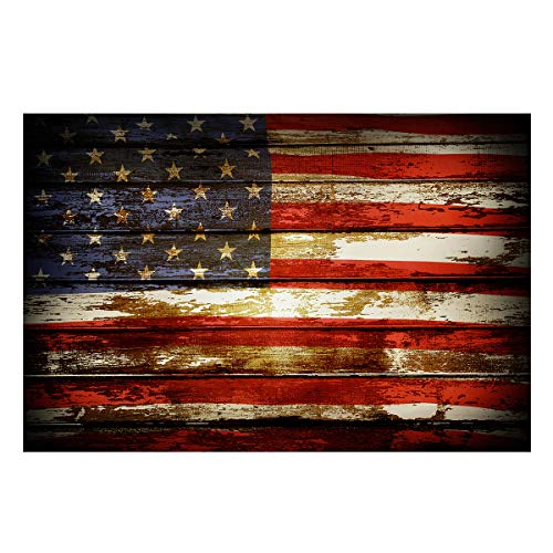 Fantasy Star Aquarium Background Vintage Wooden Board American Flag Fish Tank Wallpaper Easy to Apply and Remove PVC Sticker Pictures Poster Background Decoration 12.4' x 30.4'