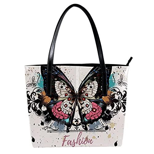 LORVIES Illustration de mode de style grunge taches d'encre papillon coloré Sac à bandoulière en cuir PU et sacs à main Sac fourre-tout pour femmes