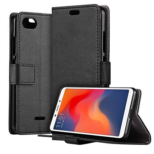 HDRUN Xiaomi Redmi 6A Leder Hülle - Premium PU Leder Flip Tasche Case mit Kartensteckplätzen & Ständerfunktion Schutzhülle Handyhüllen für Xiaomi Redmi 6A, Schwarz