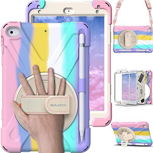 BRAECN iPad Mini Case 5th Generation, iPad Mini 5 Case for Kids, Heavy Duty Protective Rugged Case Cover with Hand Strap, Shoulder Strap, Kickstand, Pencil Holder for iPad Mini 5 / 4 -Light Rainbow
