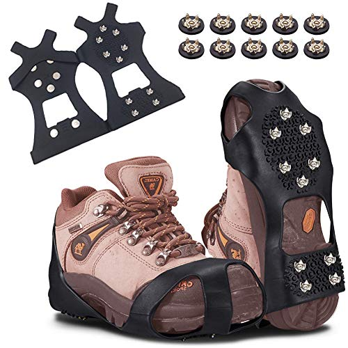 BETLLEMORY Ice Cleats 10 Extra Replacement Studs Ice Grips Traction Cleats Grippers Non-Slip Over Shoe//Boot Rubber Spikes Crampons with 10 Steel Studs Crampons Slip-on Stretch Footwear for Winter