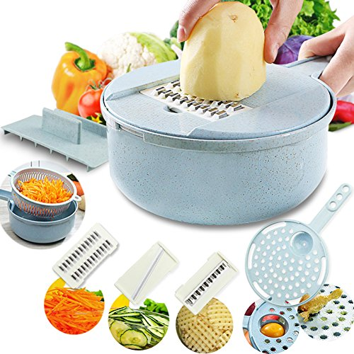 Mandoline Slicer-Adjustable Vegetable Chopper-Kitchen Cutter,Cheese Grater,Shredder for Onion,Potato,Zucchini-8 in 1 Julienne Slicer Low Carb Meals Veggie&Food Dicer