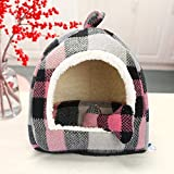 Zwinger Hundebett Fashion Plaid Camping Hundebetten   Pet House Mit Kissen Kissen Cotton Bone Cat Room Bettwäsche Für Kleine Tierchen M33X33X37Cm Schwarz