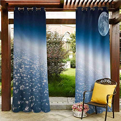 Space Pergola Outdoor Drapes Outdoor Grommet Top Single Panel Aerial Atmosphere View of the Planet Earth with Moon Satellite World Horizon Picture Pale Blue 108'W by 108'L(K274cm x G274cm)