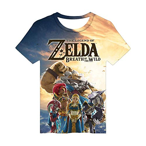 KJYAYA Sommer 3D bedrucktes T-Shirt Spiele The Legend of Zelda Bedrucktes Rundarm Kurzarm T-Shirt