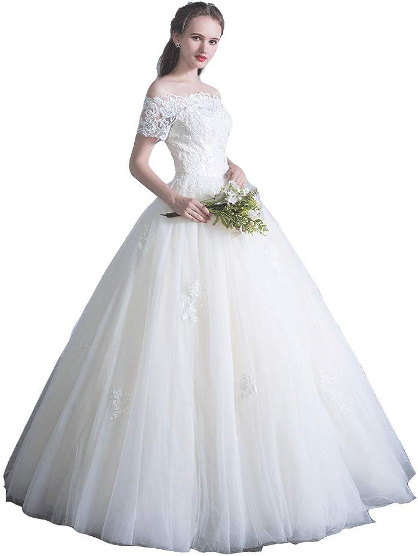 Wedding Dress OneShoulder Wedding Dress Qi Wedding Mori Hepburn Wedding Dress Slim Simple Wedding Dress (Size   XL)
